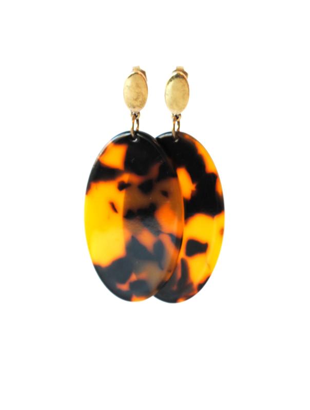 Oorbellen met hanger leopard print