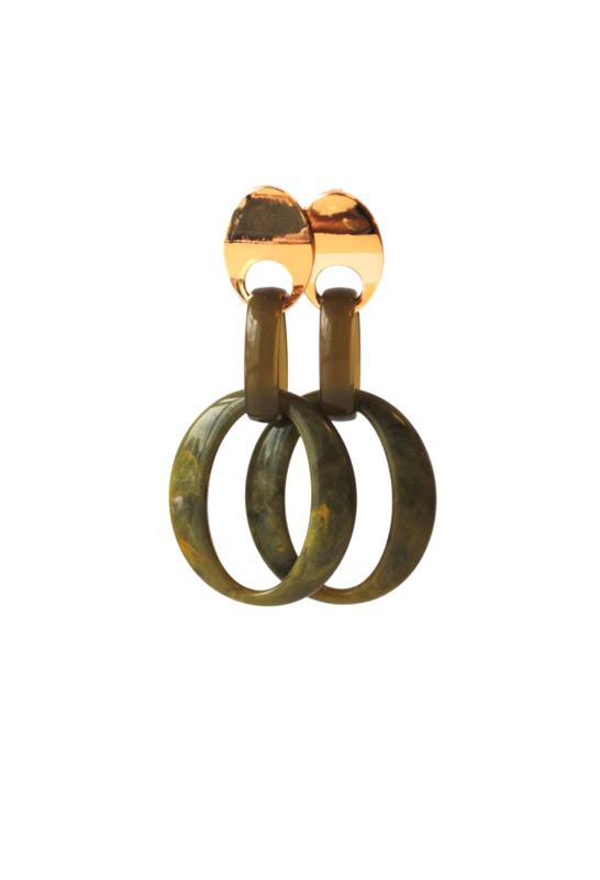 Oorbellen olijfgroen met oorsteker goldplated
