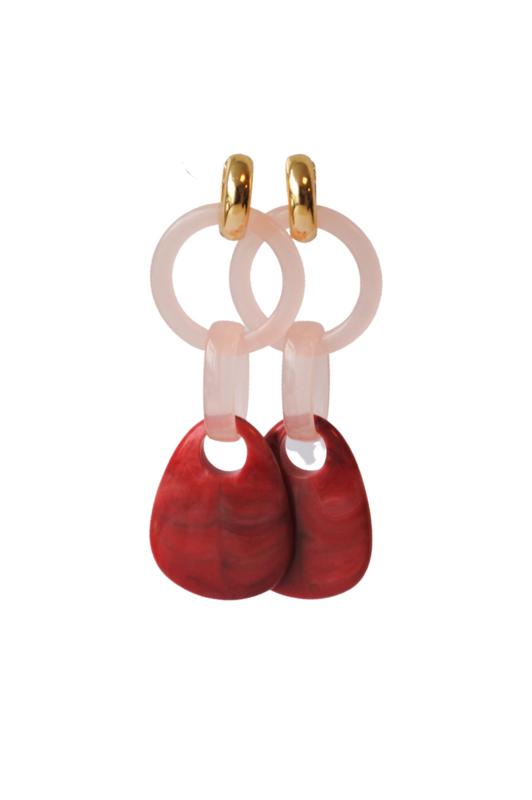 Statement earrings rood/roze met creooltje 24K goldplated