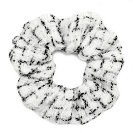 Scrunchie Woven Wit/zwart