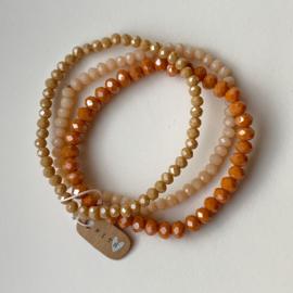 Armband kralen SET peach/beige/zachtroze