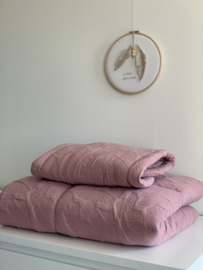 Matrasje verschoningsmand + boxkleed 'Beautiful Leaves' Dusty Pink