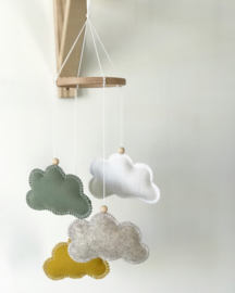 Wolkenmobile SMALL groen, oker, wit, taupe