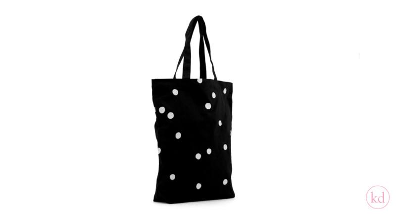 Katoenen shopper zwart met witte stippen
