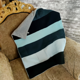 Patchwork deken 60x75 - blauwige tinten