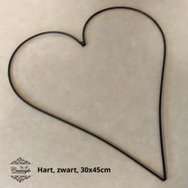 Metalen hart 45 cm zwart (afgerond)