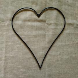Metalen hart 30 cm zwart (afgerond)