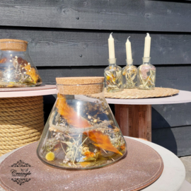 Erlenmeyer pot met droogbloemen