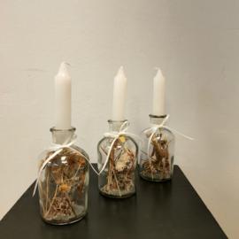 Glazen kaarsenhouder set met droogbloemen