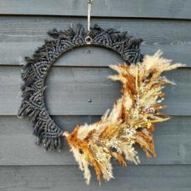 Wandhanger krans met droogbloemen (45 cm )