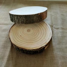 Houten schijf rond ± 10/15cm per 2 stuks