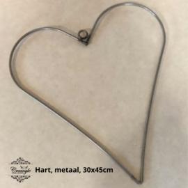 Metalen hart 45 cm (afgerond)