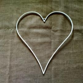 Metalen hart 30 cm wit (afgerond)