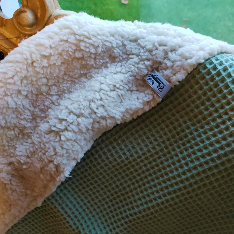 Winterdeken met teddy - mint groen
