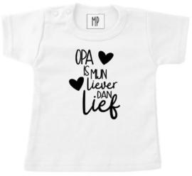 Familie | bedrukt T-shirt | Opa is mijn liever dan lief