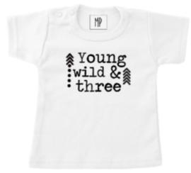 Verjaardag T-Shirt | Young wild and three