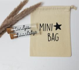 Glazen buisjes met katoenen tasje | Mini bag