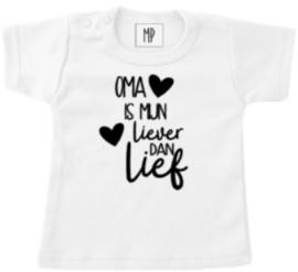 Familie T-shirt | Oma is mijn liever dan lief