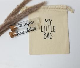 Glazen buisjes met katoenen tasje | My little bag