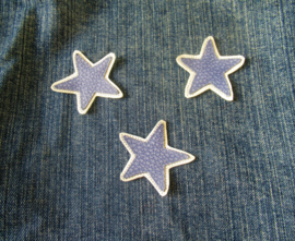 DIY leren patch STAR BLAUWWIT