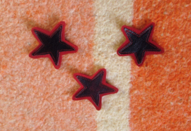DIY leren patch STAR DONKERROOD