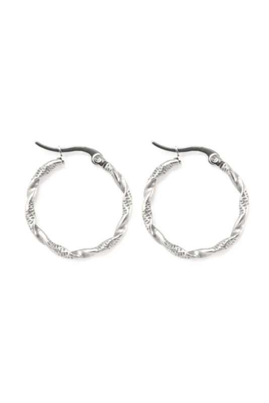 Silver twisted hoops (30mm)