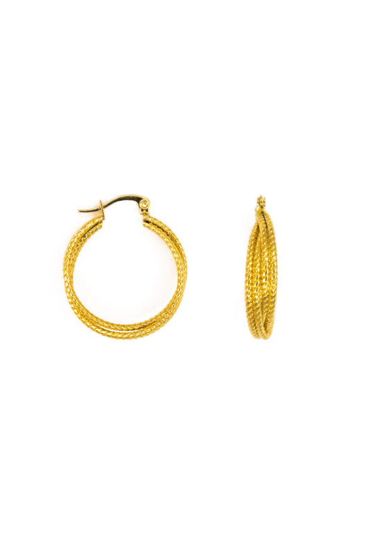 Golden double twisted hoops