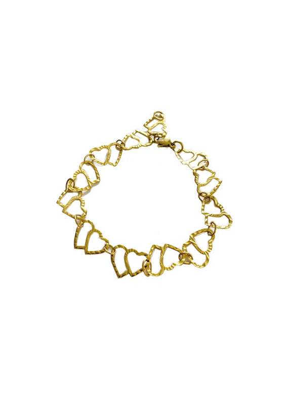 Golden double hearts bracelet