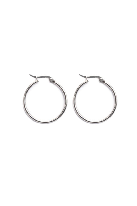 Silver basic hoops (30mm)