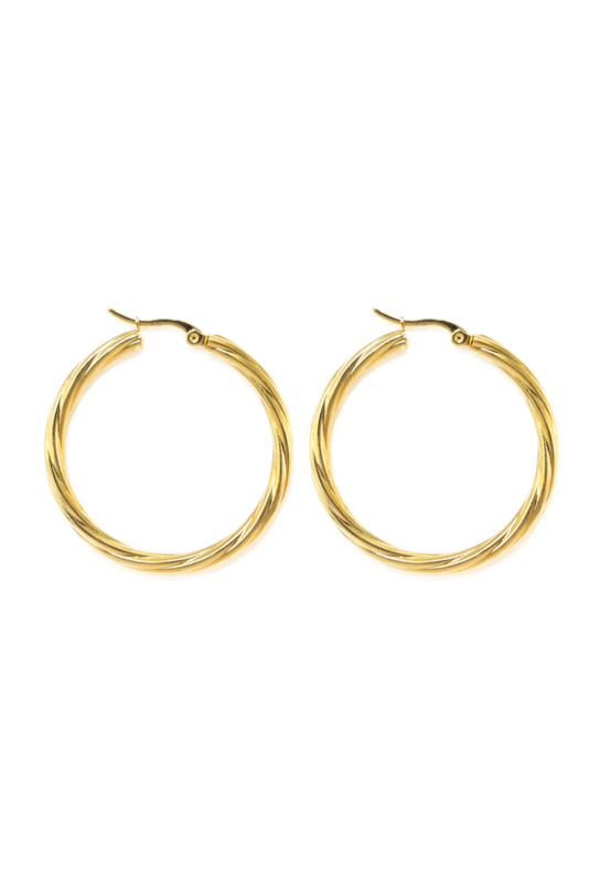 Golden twisted hoops (40mm)