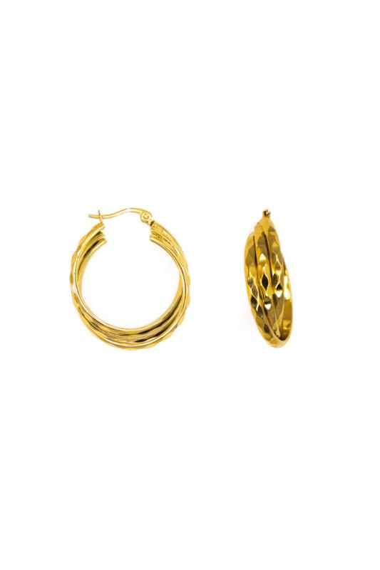 Golden three double hoops