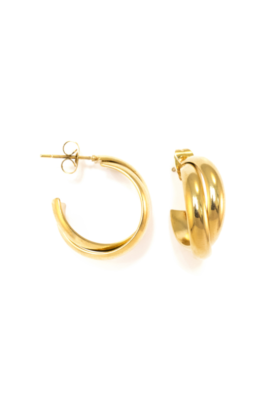 Golden double stud hoops