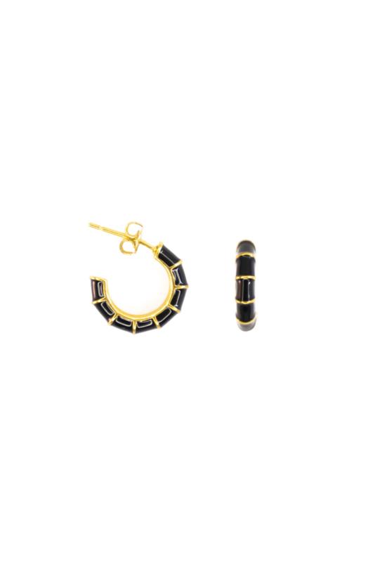 Golden black stud hoops