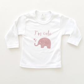 Shirtje 'I'm cute' met olifantje