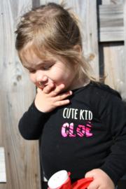 Shirtje 'cute kid' en naam met zebraprint neon roze