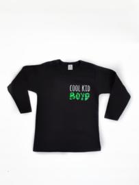 Shirtje 'cool kid' en naam met zebraprint neon groen