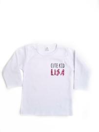 Shirtje 'cute kid' en naam met luipaardprint roze