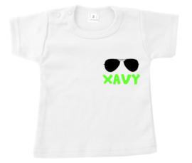 Shirtje - naam met zonnebril - neon