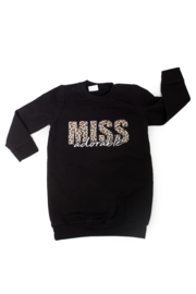 Sweaterdress - miss adorable - met luipaardprint
