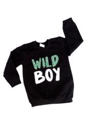 Sweater - 'wild boy' met luipaardprint groen