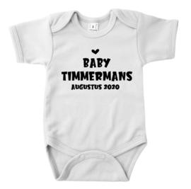Rompertje -  zwangerschapsaankondiging - baby + achternaam + uitgerekende datum