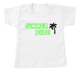 Shirtje - summer dude - palmboom - neon