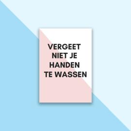 Set posters 'Handen wassen' roze