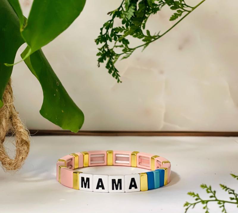 Mama love armband roze
