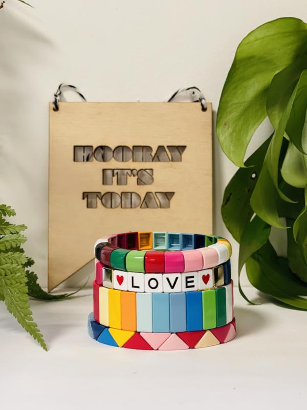 Regenboog armband Love set