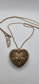 Bronskleurige ketting met hart