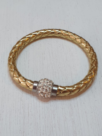 Goudkleurige armband met strass steentjes