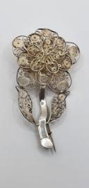 Zilveren, antieke filigree broche