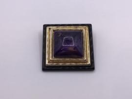 Vierkante paarse broche