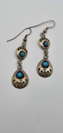 Navaho oorbellen met turquoise steentje
